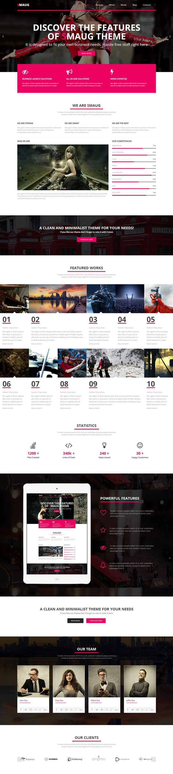 Bootstrap HTML5 CSS3 Template - Smaug - WP Mustache