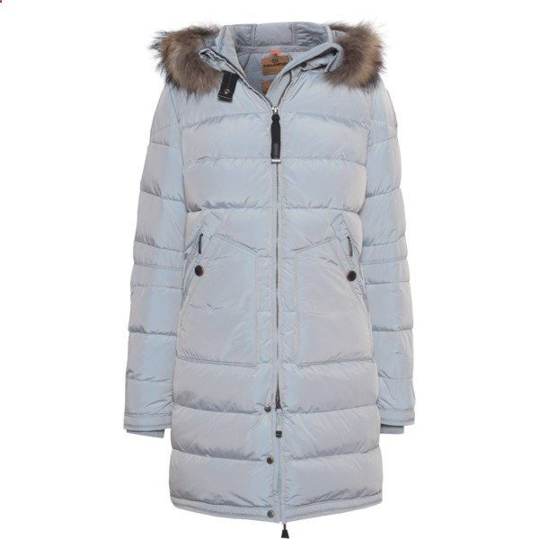 PARAJUMPERS Light Long Bear Glacier Blue // Down parka with fur trim ($630) ❤ liked on Polyvore featuring outerwear, coats, long coat, long fur coat, bear coat, long down jacket and long quilted coat
