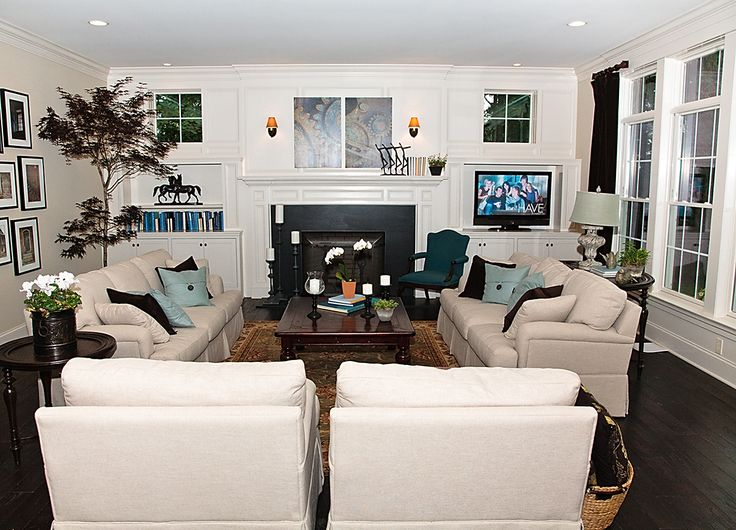 Traditional Living Room Tv family room battle: fireplace vs. flat screen tv | flat screen tvs