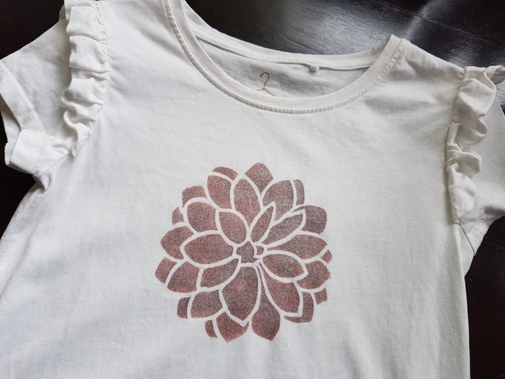 Final dry and heat-set stencilled t-shirt using Imagination Crafts Starlight Textile paint and my Designs by Georgina Dahlia stencil.  http://www.designsbygeorgina.co.uk/product/dahlia-stencil/