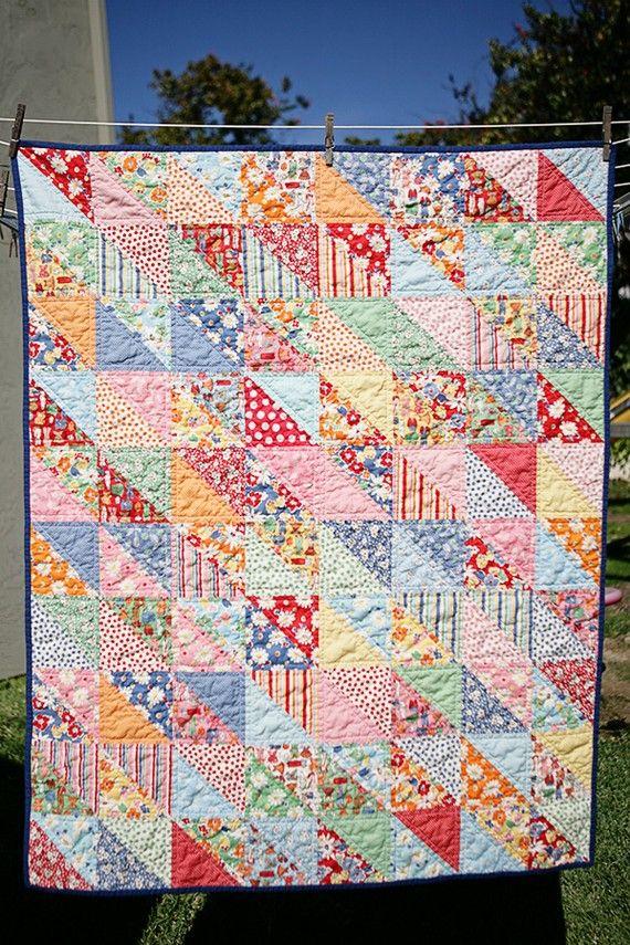 Quilt - 1/2 squares