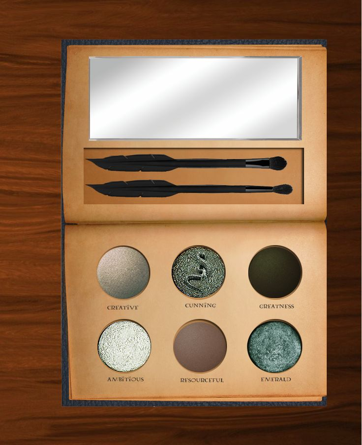 http://www.revelist.com/beauty-news-/harry-potter-eye-shadow-palettes/5169/As expected, the Slytherin shadows are cool and dark. Even Death Eaters would love these smoky shades./4/#/4