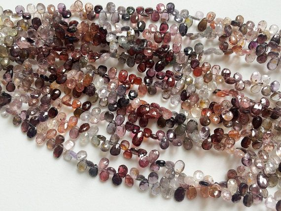 Multi Spinel Faceted Pear Beads Natural Spinel by gemsforjewels