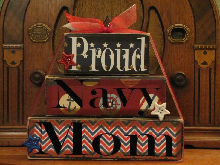 Proud Navy Mom, Proud Military Mom, Military Mom Sign, Mom Gift, Mothers Day Gift, Large Word Block Stacker by PunkinSeedProduction on Etsy