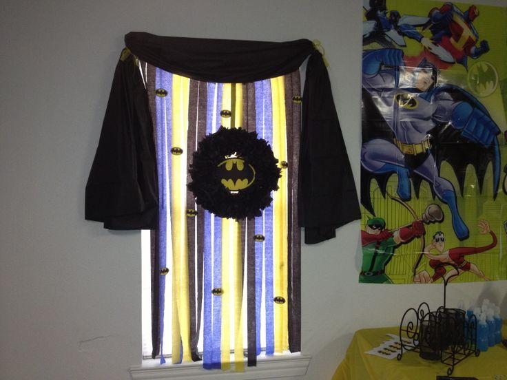 batman classroom theme | Batman window decor using streamers and printed batman logos. The ...