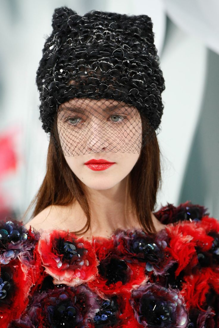 Chanel - Spring 2015 Couture - Look 85 of 146 (Details). The hat is a little like winter making way for the dress's spring, I think. Photographed by Gianni P. / Indigitalimages.com.