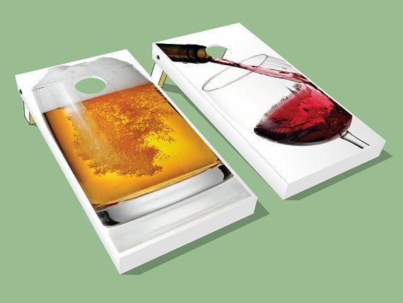 Beer and Wine Cornhole Board Wraps - Awesome Drinking Cornhole Board Wraps