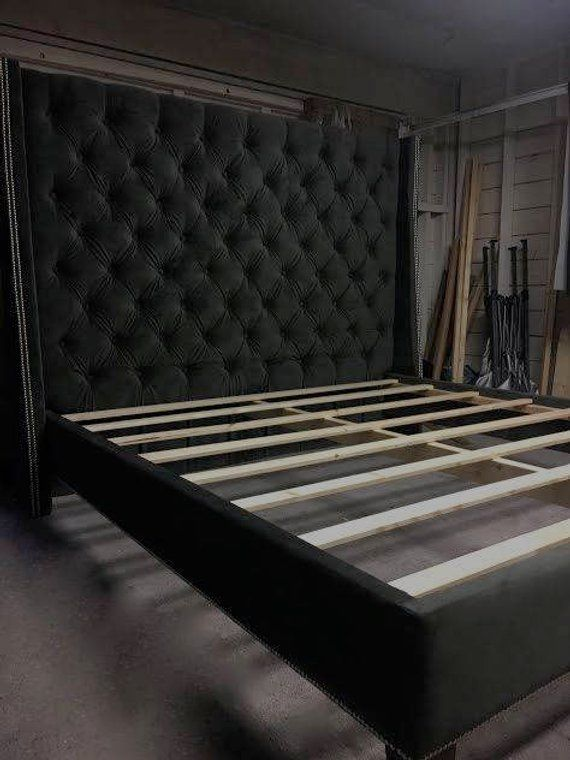 Diamond Tufted Wingback Headboard And Upholstered Bed Frame Set
