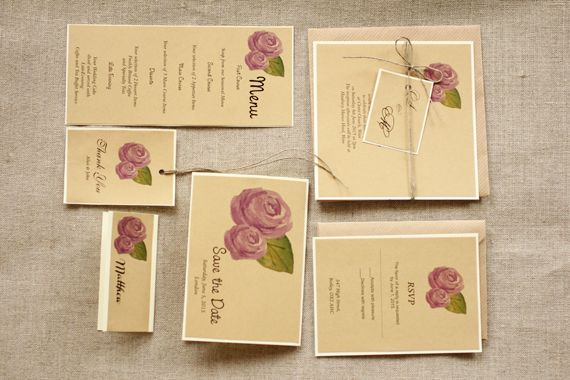 Rustic, Eco and watercolor flower wedding invitation - twine tag
