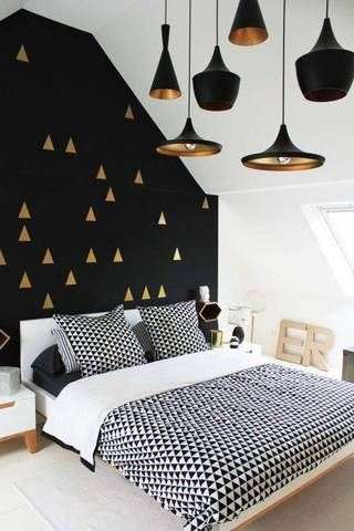 Accent Wall Ideas Black Accent Wall with Adhesive Triangles