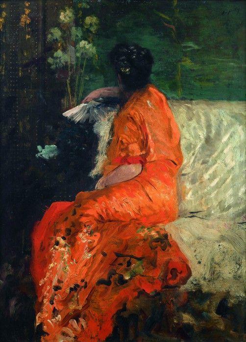 """Giuseppe De Nittis """"Il kimono arancione""""  (Le kimono couleur orange ) 1846–1884  http://in-solita-mente.tumblr.com/"""