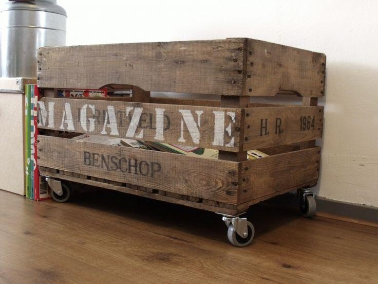 Crate on wheels - Opbergkist/speelgoedkist Minke (1 kant bedrukt) - Creations by Corline