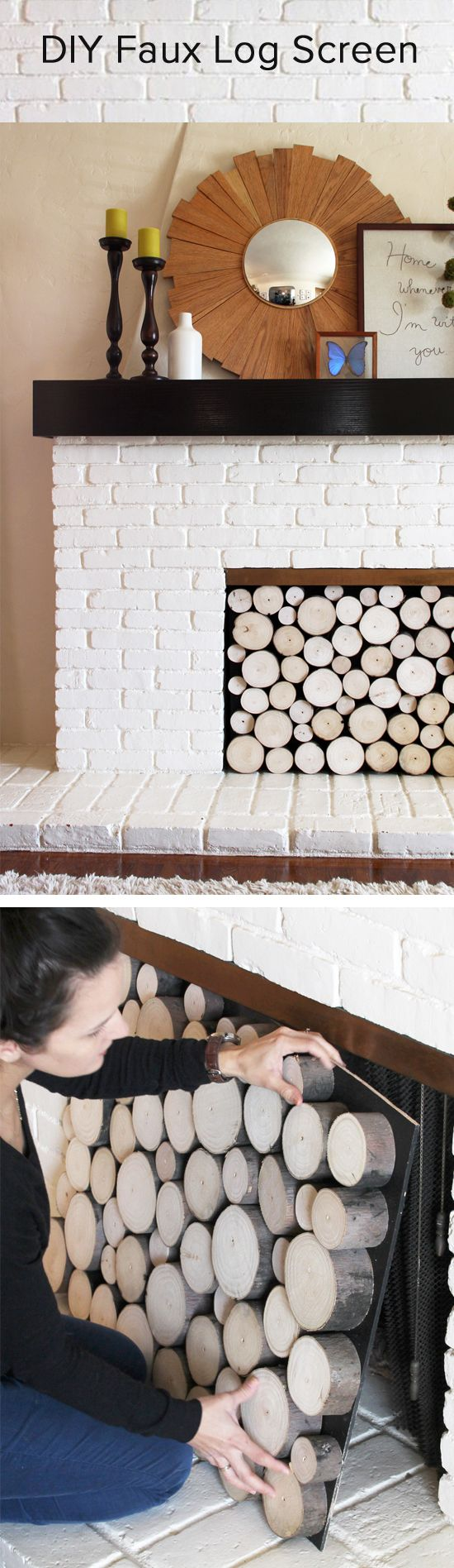 Great idea for your fireplace in spring and summer, or if its a nonfunctional one. Perfectly stacked logs you can remove in seconds.
