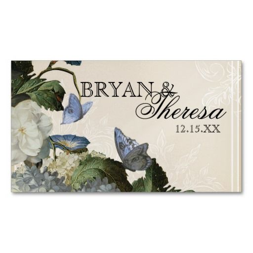 Morning Glory Hydrangea - Reception Seating Cards Business Card Templates