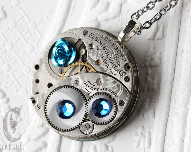 Steampunk Statement Necklace Pendant - Blue Rose Elgin Guilloche Etch Antique Pocket Watch Movement with Capri Blue Swarovski Crystals  Gift by CapsuleCreations on Etsy