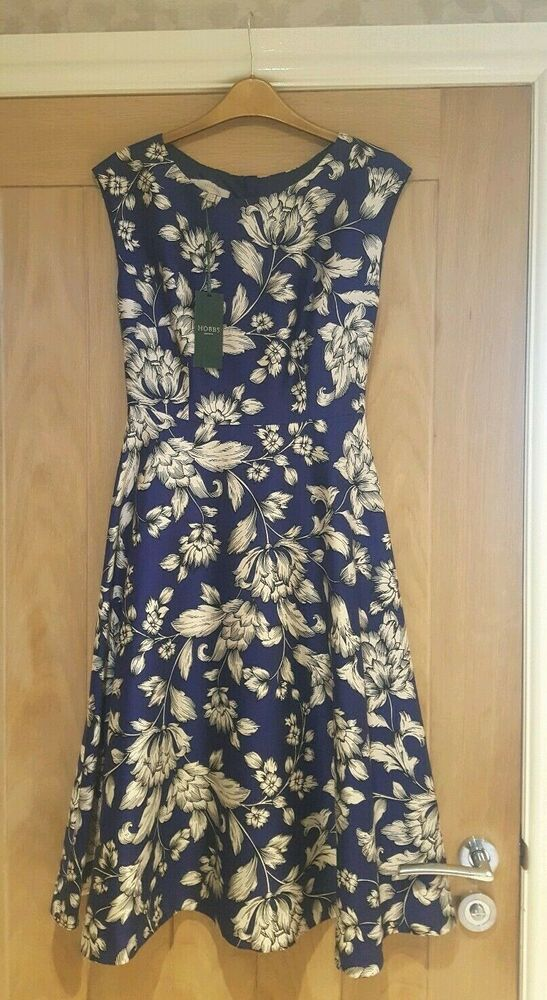 bdb55192d3 HOBBS IRIS SABLE DRESS BLUE FLORAL SILK BLEND VINTAGE 50'S UK 8 229 ...