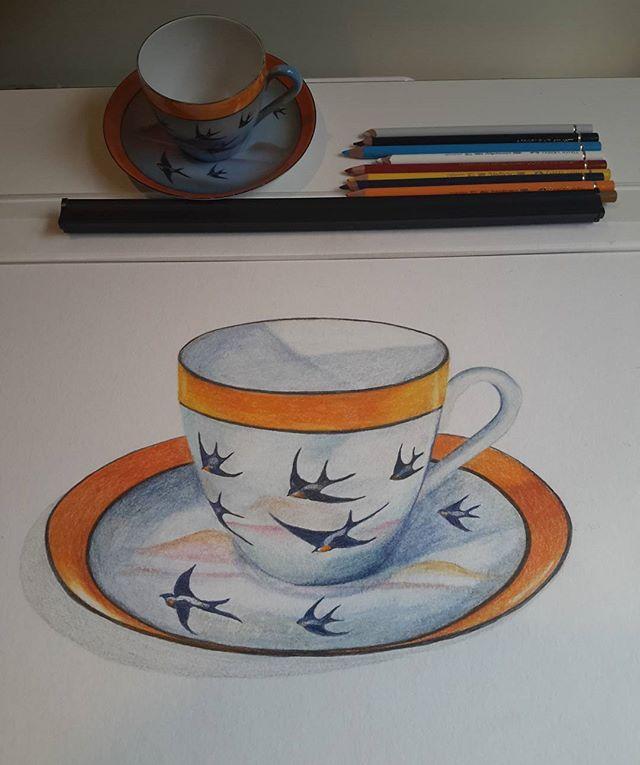 Great grandmother's Bluebird teaset Coloured pencil drawing by Kristin.Ivill.Art