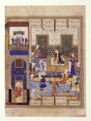 Court banquet (miniature), Isfahan (?), Iran, 16th century.  Court banquet (miniature);  Isfahan (?), Iran, 16th century;  Photo: A. Dreyer.