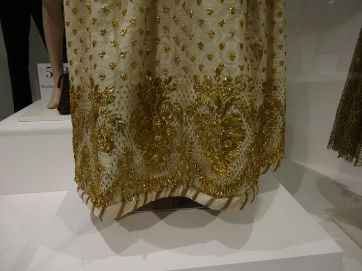 late 1820s dress - detail of embroidery on skirt. Museum of costume, Bath