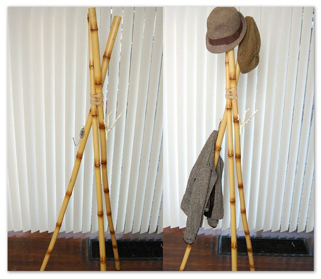 96 best bamboo diy images on pinterest bamboo products for Diy standing coat rack ideas