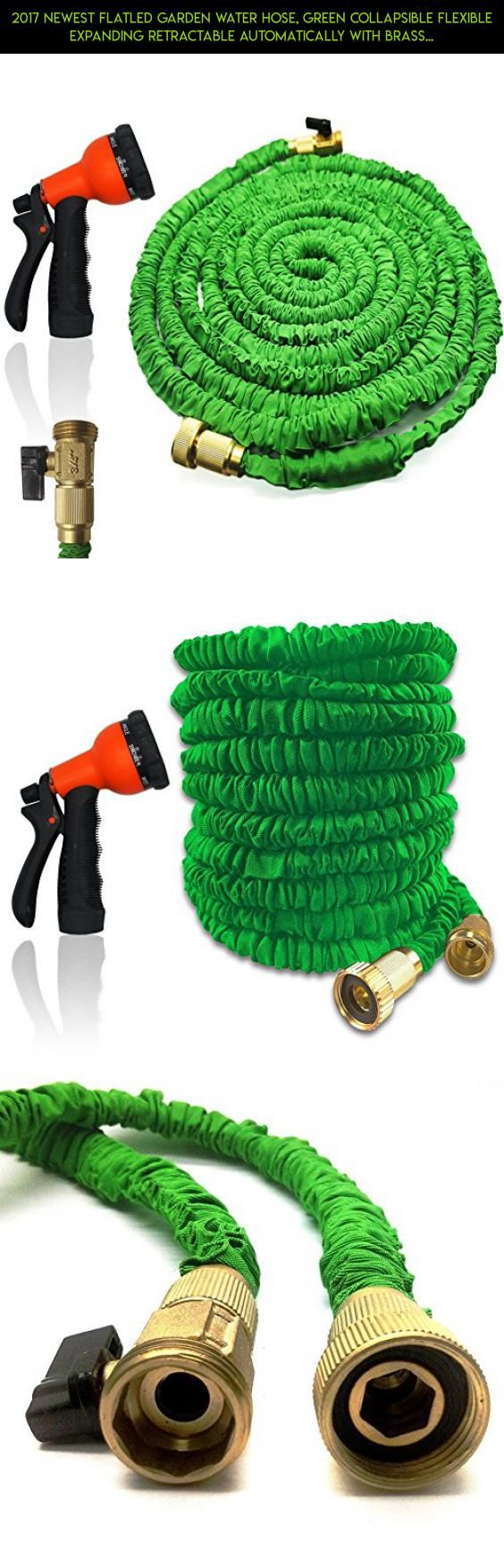 2017 Newest FlatLED Garden Water Hose, Green Collapsible Flexible Expanding Retractable Automatically with Brass Connector and Spray Nozzle (50ft) #storage #camera #shopping #5 #products #plans #basket #kit #technology #racing #gadgets #parts #tech #drone #fpv