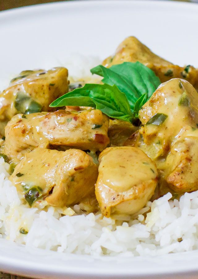 Curry Chicken in Basil Coconut Sauce – delicious curry chicken in a creamy basil coconut sauce.