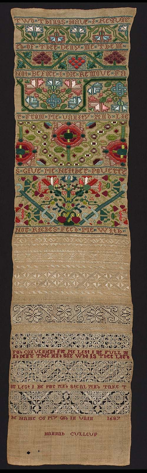 Hannah Culleup 1687, Band Sampler | Museum of Fine Arts, Boston