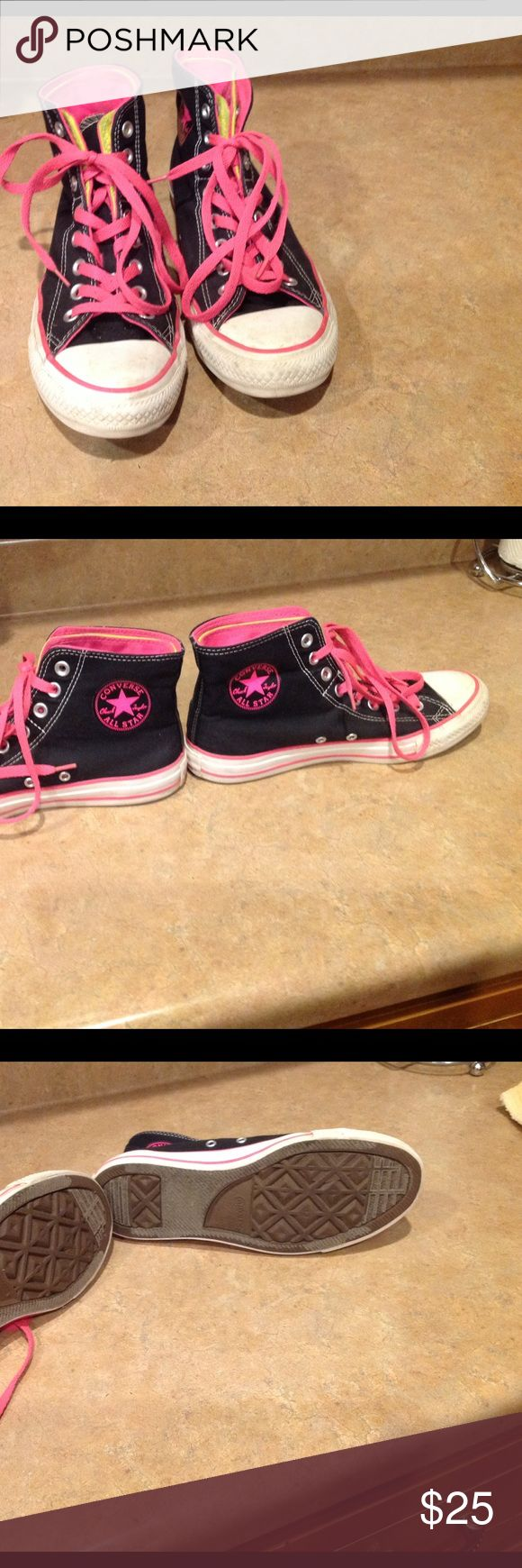Converse All Star shoes, women's size 9, men's 7 Hot pink and black Converse Shoes