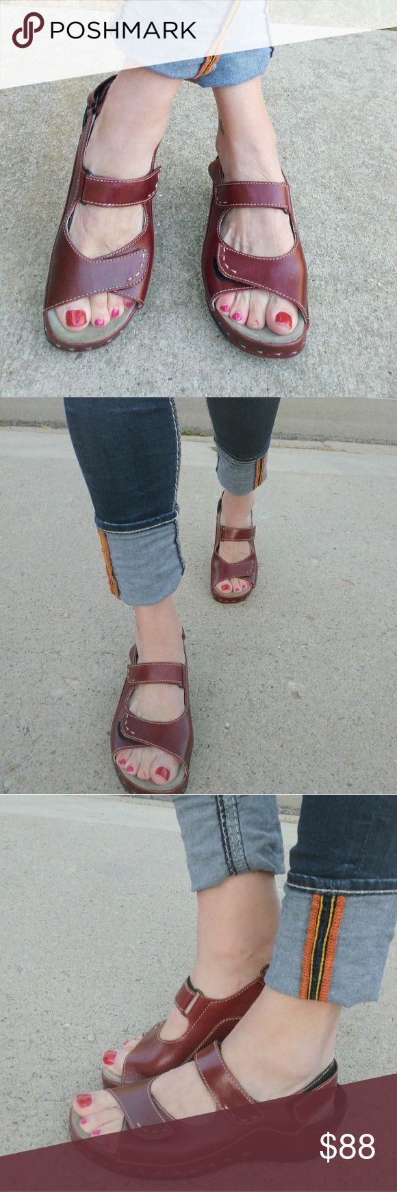 Wolky Maroon Walking Shoes Like New condition, only worn for pics.  Dark red, berry color.  Adjustable Velcro straps on top and around ankle. Very comfy. Great arch support. Open Toe. Wolky Shoes Sandals