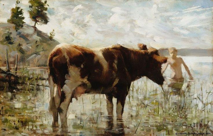 Lehmä ja Poika (cow and boy) Akseli Gallen-Kallela 1885.