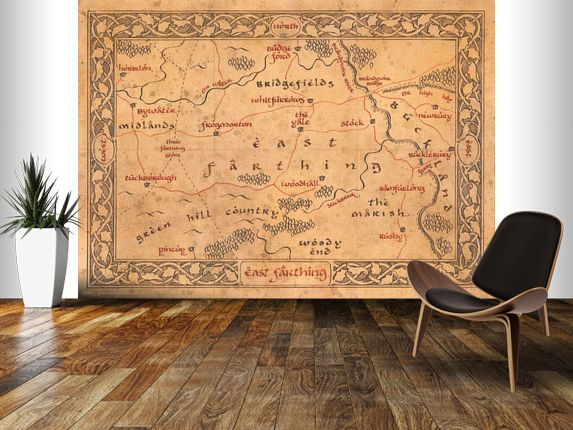 Middle earth east farthing map wall mural room setting for Earth rising wall mural