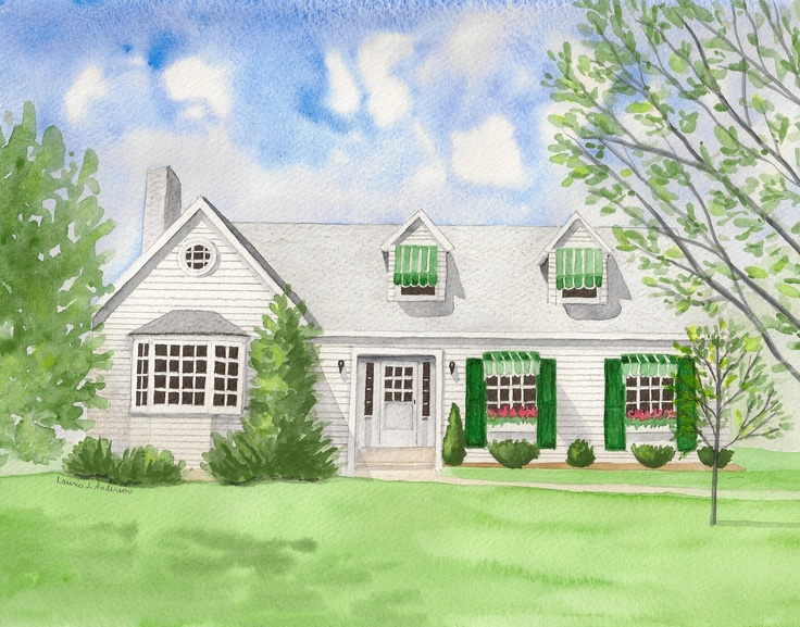 Custom Home/House Portrait Painting ORIGINAL ART in Watercolor from a photo. $85.00, via Etsy.