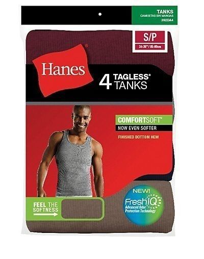 4-Pack Hanes Mens Assorted Color A-Shirt Tank Wife Beater Undershirt - S-2XL #Hanes #AShirt