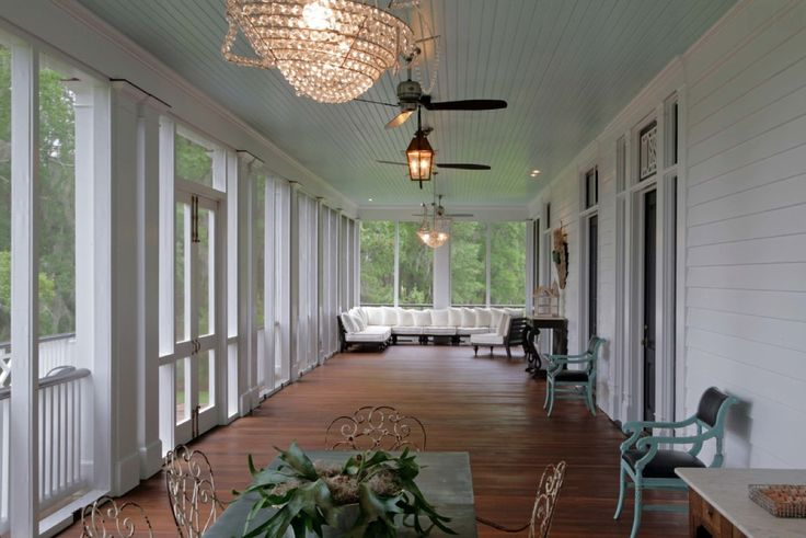 Wide Back Screened Porch With Blue Ceiling Unique
