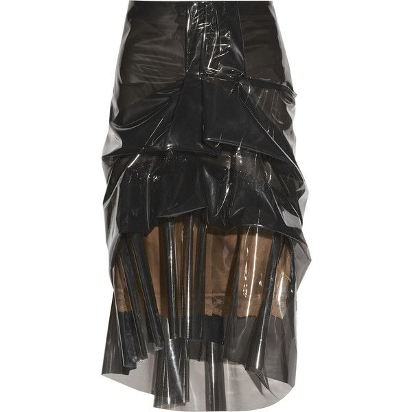 Marc Jacobs Ruffled silk-lined plastic skirt ($285) ❤ liked on Polyvore featuring skirts, black, marc jacobs, sheer slip, zipper skirt, see through skirt, knee length slip and sheer black skirt