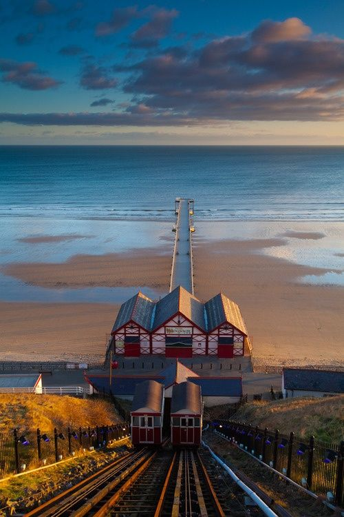 Saltburn Cliff Lift and Pier in Saltburn-by-the-Sea, Redcar and Cleveland, North Yorkshire, England.