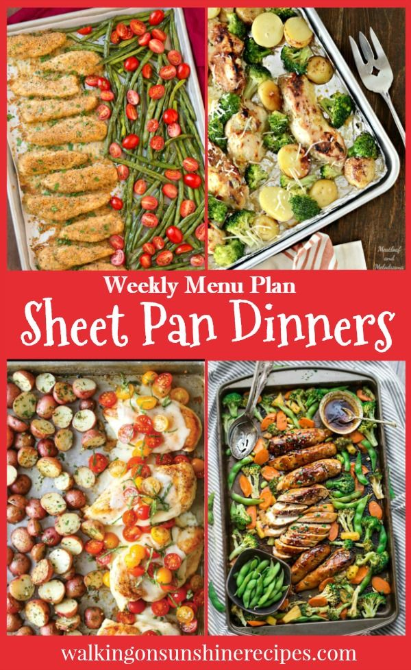 Weekly Menu Plan - Sheet Pan Dinners - Easy Recipes for Busy Families featured on Walking on Sunshine.