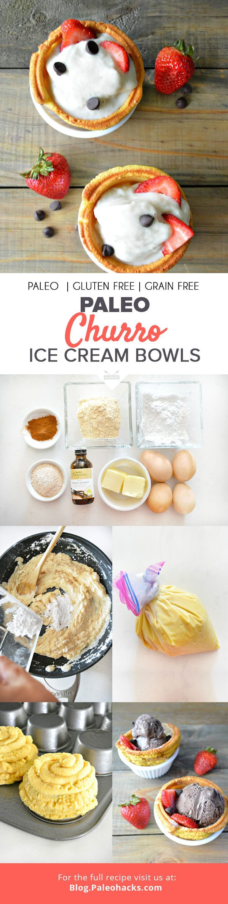 The best of both worlds — ice cream served in an edible churro bowl. Paleo ingredients reinvent this classic dessert in a guilt-free way. Summer just got a whole lot sweeter. For the full recipe visit us here: http://paleo.co/churrobowls