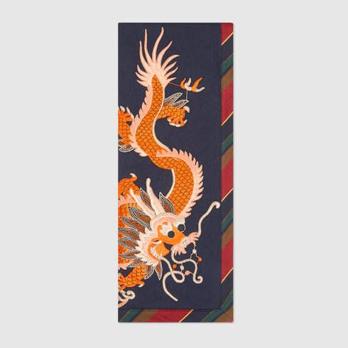 GUCCI Silk Cashmere Scarf With Dragon. #gucci #men's cashmere & wool