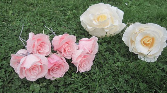 Gigant Ivory Paper Flowers Crepe paper pink roses by moniaflowers