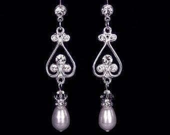 Pearl and Rhinestone Earrings Vintage Rhinestone Earrings