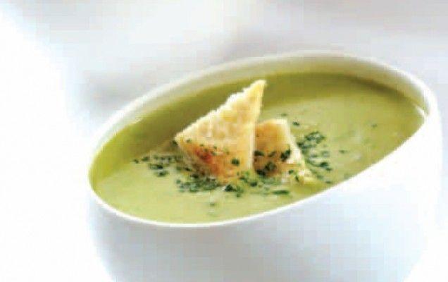 Σούπα βελουτέ με αρακά και γκοργκοντζόλα
