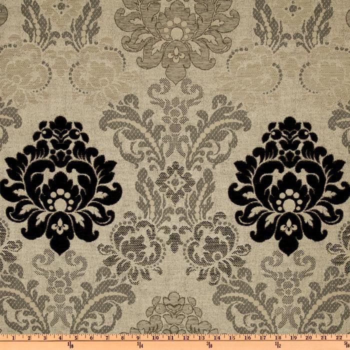 Click to Enlarge Image Kasper Astrid Damask Chenille Jacquard Grey/Black Item Number: UM-091 OUR PRICE: $17.98 PER YARD