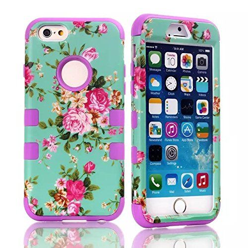 iPhone 6 Plus case,Candywe iPhone 6 Plus (5.5) cases,iPhone 6 Plus case cover,iPhone 6 Plus cover,Case for iPhone 6 Plus, 3in1 Beautiful Flowers Back case Cover for iPhone 6 Plus (5.5) (2014) Purple Candywe