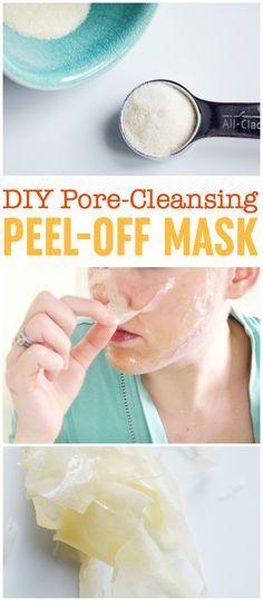 DIY de desprendimiento de la máscara |  Máscara de la espinilla |  La gelatina mascarilla exfoliante |  Las tiras de poro de bricolaje