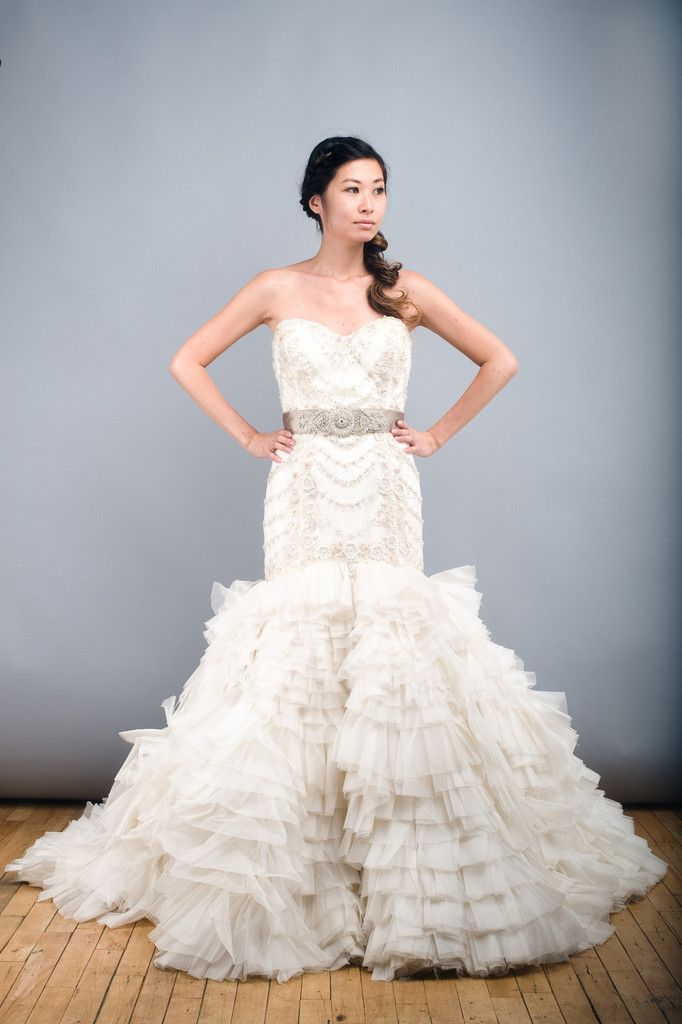 Lazaro 3150 Ruffle Silk Organza Mermaid Wedding Dress Beaded Taupe Sash Front Wide Nearly
