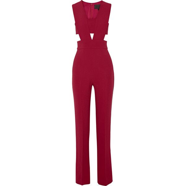 Cushnie et Ochs Stretch-cady bandeau jumpsuit ($1,745) ❤ liked on Polyvore featuring jumpsuits, dresses, one piece, playsuits, rompers, red, jump suit, bandeau jumpsuit, red romper and playsuit romper