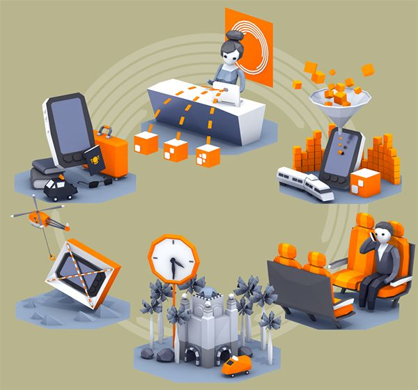 Two editorial illustrations for Orange magazine, focussed on small and middle sized businesses and the ever elusive topic of data roaming.