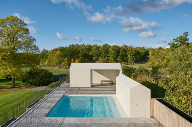 Parquet Chevron Pattern Tile Pool and Poolhouse in Sweden