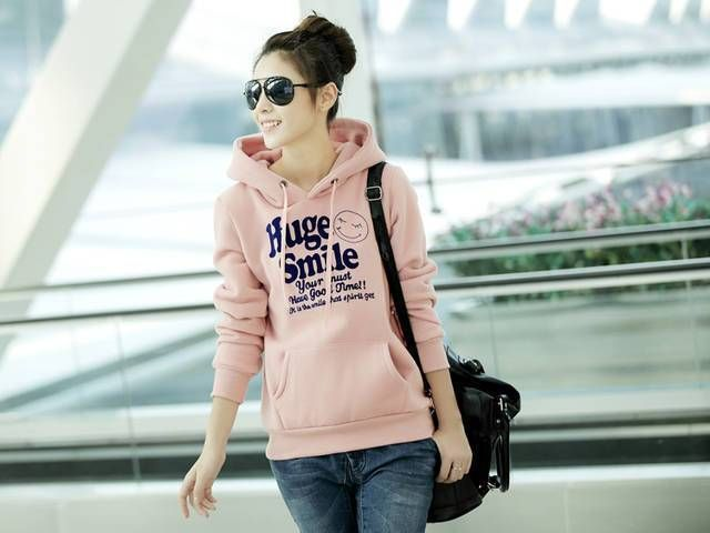 2017 Spring and Autumn Women Hoodies Long Sleeve Printed Huge Smile Sweatshirt Female Hood Girl Outerwear Color Pink Red Gray